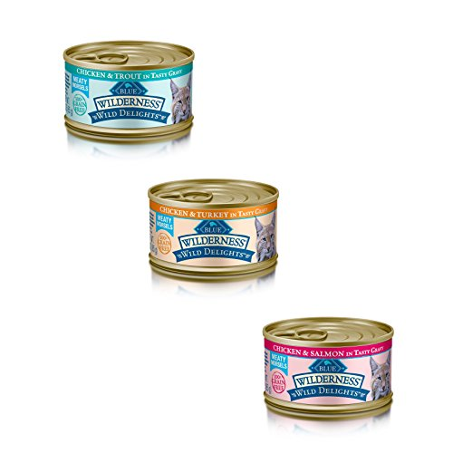 Blue Buffalo Wilderness Grain-Free Wild Delights Variety Pack Cat Food - 3 Flavors (Chicken & Trout, Chicken & Salmon, and Chicken & Turkey) - 12 (3 Ounce) Cans - 4 of Each Flavor