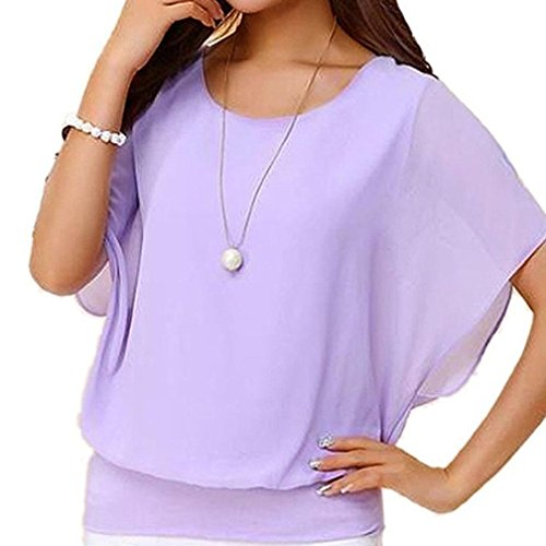 CUCUHAM Women's Loose Casual Short Sleeve Batwing Sleeve Chiffon Top T-Shirt Blouse (L, Purple)