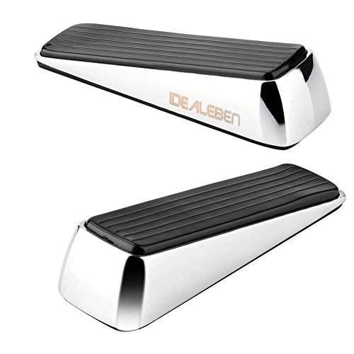 [2 Pack] Doorstop / Door Buffers Made of Stainless Steel and Rubber, Non-Slip, Robust Door Wedge, Black / Silver by Idealeben