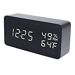 Raercodia Wooden Alarm Clock Modern Wood Digital Clock Electronic Desk Clock LED Display Time Date Temperature Humidity Voice Control 3 Alarms 3 Brightness for Home Office Kids(Black,White Display)