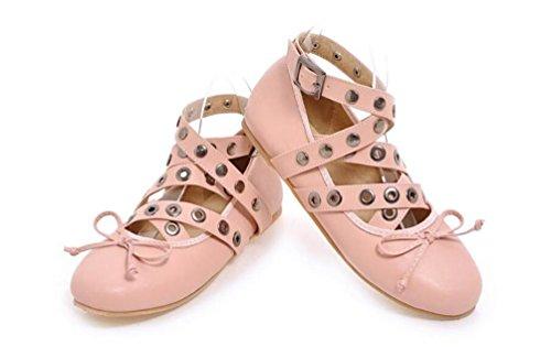 OL Flat Tobillo Corbatas Aerobic Ballet Round Toe Casual Zapatos de Decoración de Remache UE tamaño personalizado 33-43 Pink