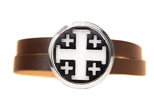 Stainless Steel Diffuser Wrap Bracelet (Brown Leather - Cross)