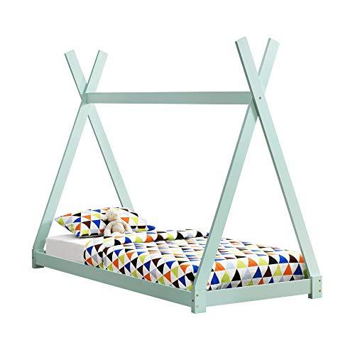 [en casa]] Cama para ninos pequenos - Cama Infantil 200x90cm Estructura Tipi de Madera Pino Color Verde Menta