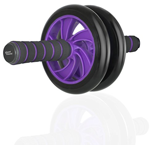 Planet Fitness Deluxe Abdominal Ab Wheel Roller Home Workout Equipment for Core Exercise w/Dual Wheels and Soft Foam -