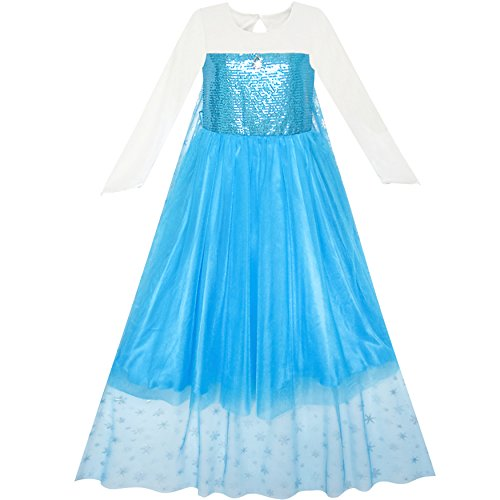 Girls Dress Cartoon Costume Princess Elsa Cloak Party Dress Size -