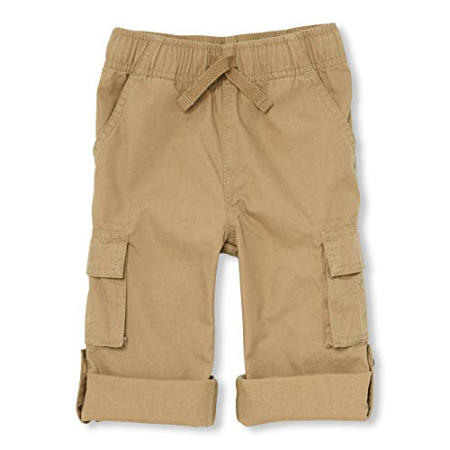 The Children's Place Baby Boys Roll Up Solid Cargo Pants, Flax, 4T