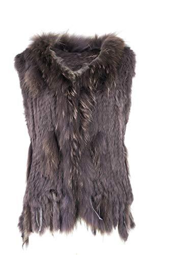 Uilor Women's 100% Natural Knit Rabbit Fur Vest with Raccoon Fur Collar Grey