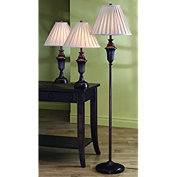 Coaster Home Furnishings 901147 Table and Floor Lamps, Dark Brown ...