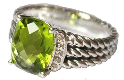 David Yurman Diamond Ring - Designer Inspired Twisted Cable Cushion Checkerboard 10x8mm Peridot and Simulated Diamond Ring Size 7 8 9 (7)