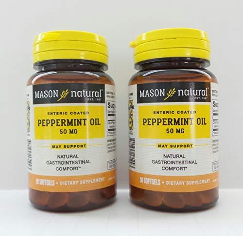 Mason Natural Peppermint Oil 50 mg Enteric Coated Softgels - 90 Softgels, Pack of 2