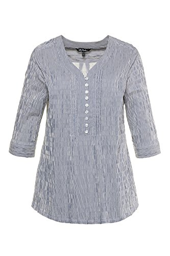 Ulla Popken Women's Plus Size Striped Seersucker Blouse Navy Blue Stripe 16/18 698014 70 Crinkle Cotton Big Shirt