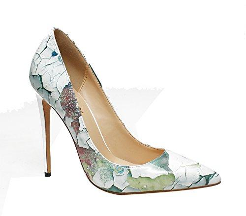 Ruanlei@Sexy de Tacones Altos/Clásicas Tacones Altos/fashion - Cerrado Mujer/Tacones de Charol ElegantesGraffiti elegante y versátil de alto talón zapatos mujer Wall color