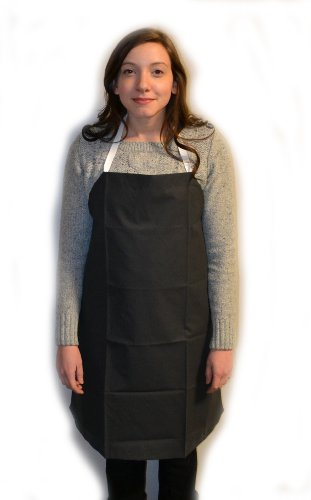 Eisco Labs Black Rubber Coated Cloth Bib Apron, Medium (27
