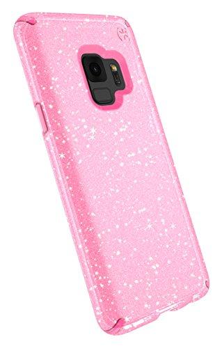 Speck Presidio Clear + Glitter Samsung Galaxy S9 Case, Bella Pink with Gold Glitter/Bella Pink