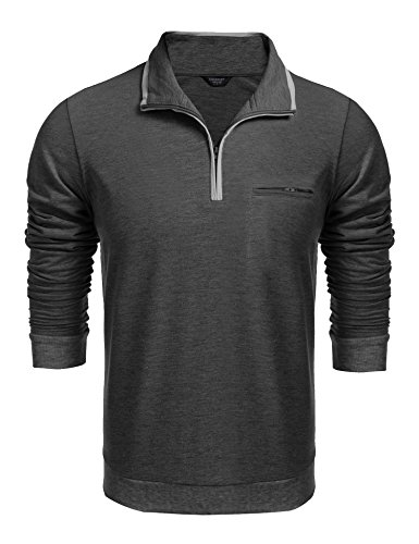 COOFANDY Men's Relaxed Fit Mock Neck Polo Quarter Zip Pullover Collar Sweatshirt (Silk Blend Mock Neck)