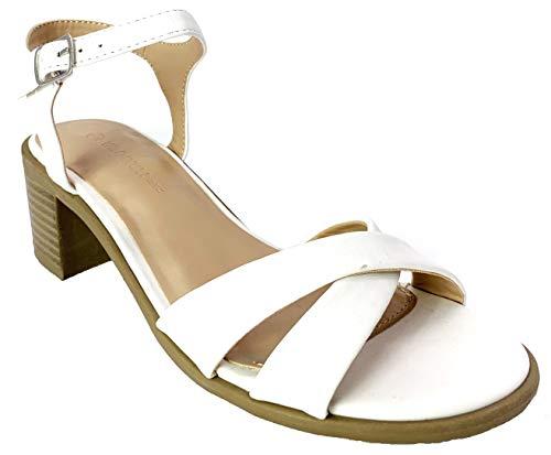 Wild Diva Women's Open Toe Low Chunky Block Heel Ankle Strap Buckle Sandal Pumps Shoes