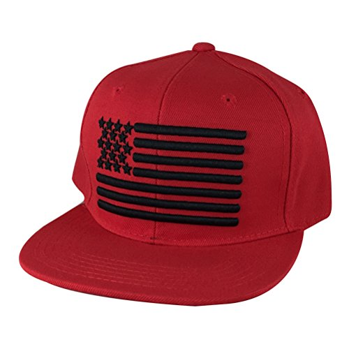 USA Flag Solid Snapback Hat Cap - Red Black