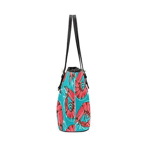 Mode handväskor för kvinnor animering tecknad skaldjur mat räkor läder handväskor väska orsaksala handväskor dragkedja axel organiserare för dam flickor kvinnor kontor handväska