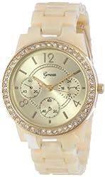 Geneva Women's 2381-Gold/Horn-GEN Rhinestone-Accented Tortoise Shell Watch