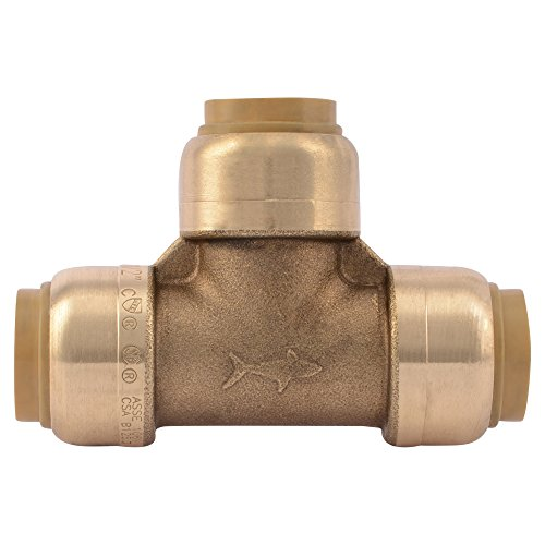 SharkBite U370LFA Tee Plumbing Pipe Connector 3/4 In, PEX Fittings, Push-to-Connect, Copper, CPVC, 3/4-Inch by 3/4-Inch by 3/4-Inch, (Pex 3 4 To 1 2 Tee)