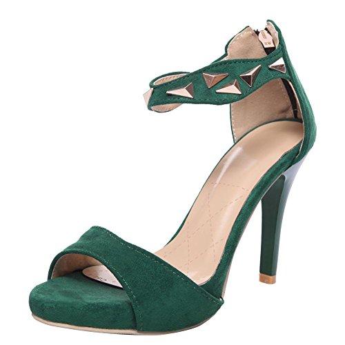 Sandali Con Tacco A Spillo Da Donna Con Cinturino Alla Caviglia In Pelle Verde Scuro
