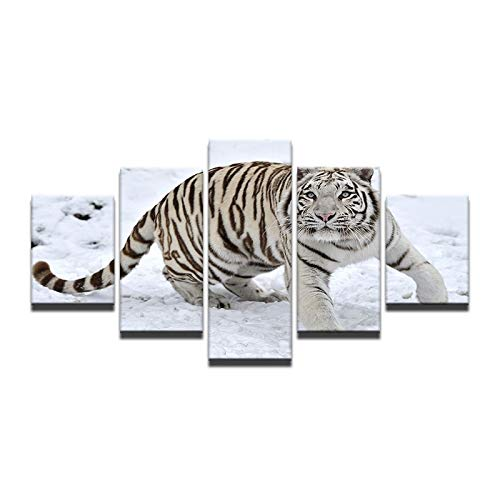 40x60 40x80 40x100cm No Frame HD 5 Pieces Canvas Paintings Printed White Tiger Snow Mountain Wall Art Canvas Modular Living Room Bedroom Home Decoration