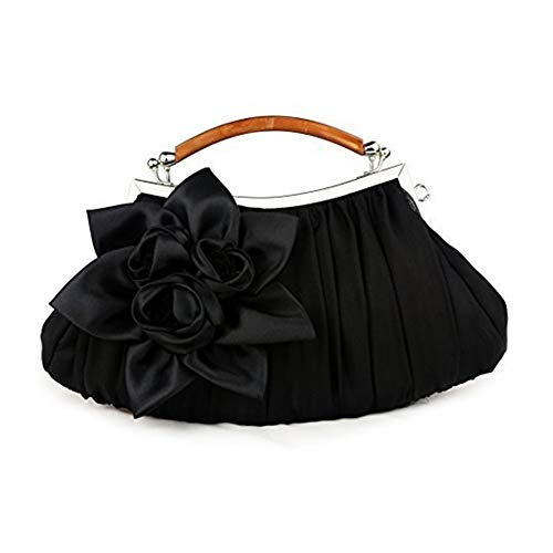 WeiSocket Newest Antique Satin Evening Party Fashion Designer Wedding Envelope Bridal Purse Women Clutch Shoulder Bag Elegant Handbag Black