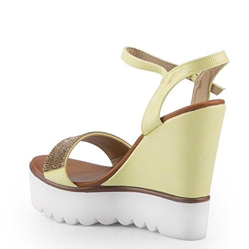 Ideal Shoes Kompensiert Sandale Glitterlack und Strass Dekor Heidelibelle  Gelb ...