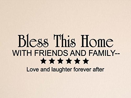 Vinylsay 0093.Bless-G.Black -22x8 Bless This Home with Friends and Family Saying Wall Decal, 22'' x 8'', Gloss Black by Vinylsay