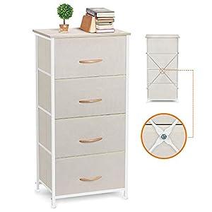 COSYLAND Commode avec 4 tiroirs en Tissu Tour de Rangement, mobilier de Rangement Robuste pour Salon Cuisine Bureau…
