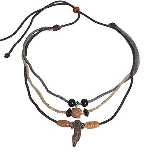 JESSE · RENA Men's Jewelry Hemp Beach Choker Pendant Surfer Necklace Accessories (3L-Grey)