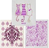 Swedish Cleaning Cloth Kitchen Bath Dish Wash Reusable Natural Purple Cat Paisley MDP (Set of 3)