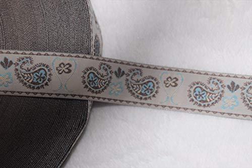 (1 Yard White Brown Light Blue Paisley Print Jacquard Sewing Ribbon Trim 1#ID-434)