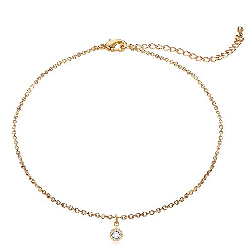 Lateefah Gold Chain CZ Choker Necklace - Simple Chain Fashion Handmade Choker Necklace
