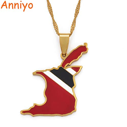 LTH12 Pendant Necklaces - Trinidad and Tobago Map Flag Pendant and Necklace Gold Color Trendy Ethnic Jewelry Gift #098521 1 PCs ()