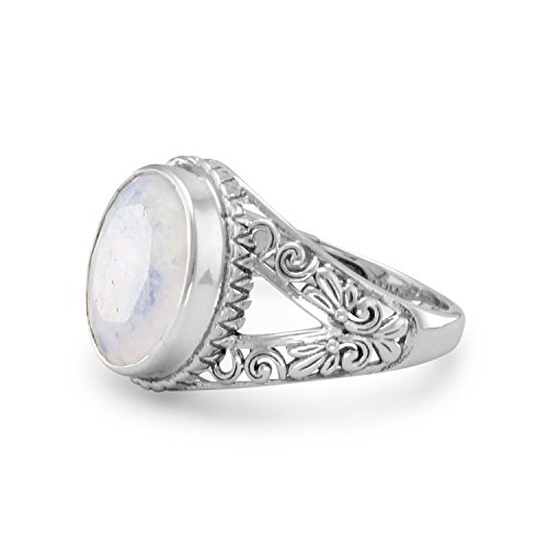 Rainbow Moonstone Ring with Scroll Design Split Band Antiqued Sterling Silver, 8 from AzureBella Jewelry