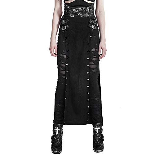 Post Apocalyptic Halloween Party (Punk Rave Women's Black Gothic Vintage Split Cosplay Long Skirt Carnival Party Costume)