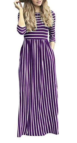 Jaycargogo Maxi 4 3 Dresses Fashion Pocket Sleeve Womens Casual 1 Pinstripe BqBPr