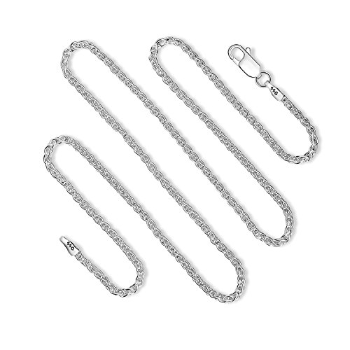 - 925 Sterling Silver 2MM Wheat Chain Lobster Claw Clasp 22