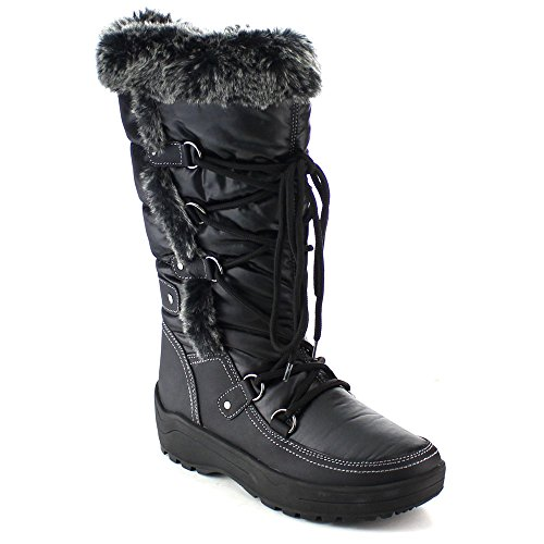 Nature Breeze FROST-01 Women's Stitching Faux Fur Lace Up...