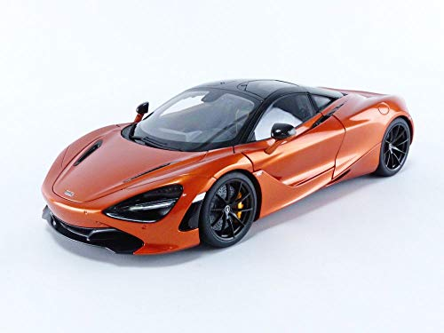 McLaren 720S Azores Orange Metallic with Black Top and Carbon Accents 1/18 Model Car by Autoart 76074