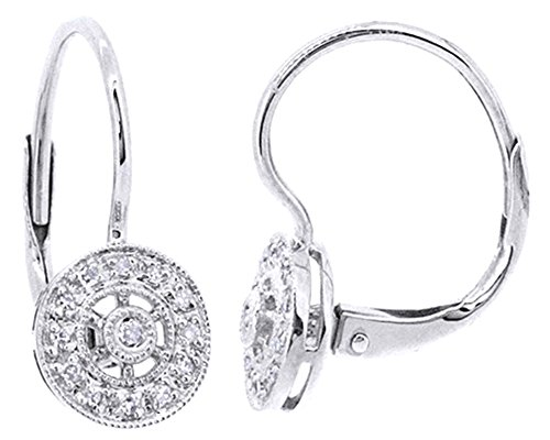 Cut Diamond Dangle Earrings - Round Cut White Natural Diamond Dangle Earrings In 14K Solid White Gold (0.08 Ct)