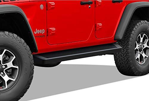APS iBoard Running Boards 6 inches Matte Black Custom Fit 2018-2020 Jeep Wrangler JL Sport Utility 4-Door (Nerf Bars Side Steps Side Bars)