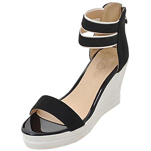 TAOFFEN Mujer Moda Comodo Dulce Tacon de Cuna Peep Toe Sandalias con Cremallera negro