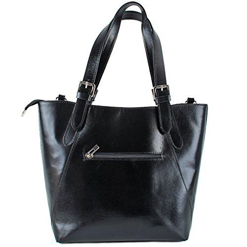 Borsa in pelle in nero–borsa in pelle stile italiano nero in pelle borsa da donna