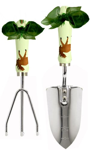 Hand Painted Moose - Cute Tools Stainless Steel Garden Shovel and Three Prong Rake - Landscaping Instrument, Hand Painted Wooden Handle In The USA, Durable Yard and Gardening Equipment From CuteTools! - Art For A Cause, Moose
