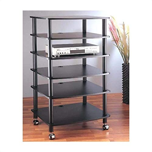 VTI AR406 6 Shelf Black Audio Rack-Black/Black - Black/Black by VTI