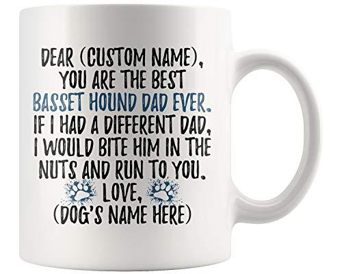 Personalized Basset Hound Dog Dad Coffee Mug, Basset Hound Men Gifts, Basset Hound Daddy Mug, Basset Hound Owner Present Gift (11 oz)