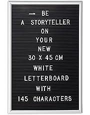 Relaxdays letterbord, 145 letters, cijfers, speciale tekens om te duwen, 45 x 30 cm, ophangen, kunststof, div. kleuren