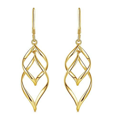 (DESIMTION Yellow Gold Plated Classic Twist Wave Earrings, Sterling Silver Post Dangle Earrings for Women)
